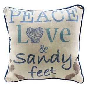 Other - Peace Love and Sandy Feet Decorative Beach Pillow